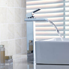 Tall New Waterfall Bathroom Basin Sink Chrome Brass Mixer Tap Faucet S623GH4