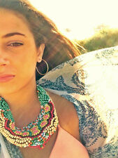 COLOURFUL MULTICOLOUR HAND BEADED COLLAR BIB WATERFALL TRIBAL INDIE NECKLACE.