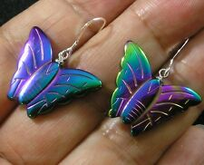 Rainbow Manmade Hematite Butterfly Earrings Blue Green Purple Gold #2