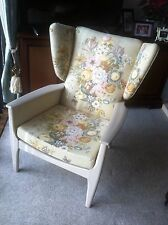 PARKER KNOLL floral Winged Back ARMCHAIR CHAIR Cream