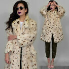 Vintage Spotted Real Rabbit Fur Architectural Kimono Coat Draped Cocoon Cape 80s