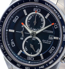 NEW MENS CITIZEN SOLAR ECO DRIVE SUPER TITANIUM CHRONOGRAPH SAPPHIRE CA0341-52E