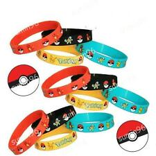 4PCS Lots  Pokemon Go Pikach Wristband Silicone Bracelet Party Gifts Bangle Chic