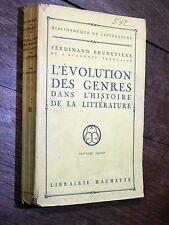 F. Brunetière - Évolution des genres dans l'histoire de la littérature HACHETTE
