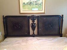 Vintage Ornate French Cane Back Carved King Size Headboard Gloss Black