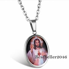 Sacred Heart of Jesus Christ Charm Oval Medal Stainless Steel Pendant Necklace