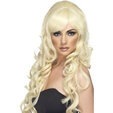 Womens Blonde Pop Starlet Glam Wig Long Curly Star Fashion Model Fancy Dress Fun