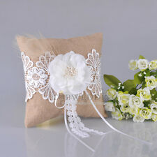 Khaki Burlap Wedding Party Rustic Ring Bearer Pillow Pearls Flower & Beige Lace