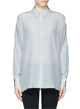 BNWOT ACNE STUDIOS 'jetson se crepe' blue blouse shirt button down silk 38
