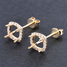 Cushion 6mm SOLID 14K Y/G NATURAL Full Cut DIAMOND SETTING SEMI EARRINGS MOUNT