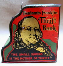 BEN FRANKLIN THRIFT BANK Tin Toy Mechanical Bank Girard Model Works Circa 1931