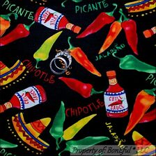 BonEful Fabric FQ Cotton Quilt Mexican HOT Pepper Lg Chile Sauce Hat Ethnic Food