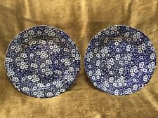 "Set Of 2 Crownford Calico Dinner Plate 10.5"" Cobalt Blue & White Staffordshire"