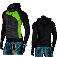 New Men's Colorblock Jumper Slim Fit Hooded Hoodies Casual Tops Pullover Sweater