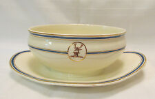 Wedgwood England Antique Creamware Sauce/Gravy Boat Blue Gold Bands Reindeer