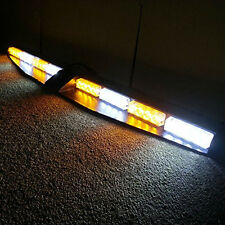 32LED Abmer&White Car Emergency Warning Split Mount Deck Dash Strobe Light Bar