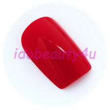 24 LOOSE FALSE NAIL SQUARE TIPS MANICURE NAILS POST BOX RED WITH GLUE 10 SIZES