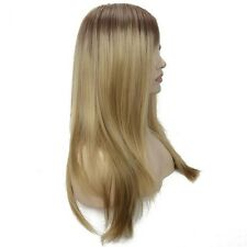 Custom Natural Roots Two Tone Dark To Light Full Blonde Ombre Highlight Bang Wig