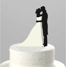 Silhouette bride and groom figurines acrylic Wedding Cake Topper Cupcake Stand