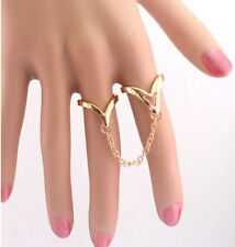 New Design Double Arrow Shape Link Chain Gold Plated Two Finger Statement Ring
