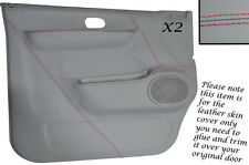 RED STITCH 2X DOOR CARD GREY LEATHER SKIN COVERS FITS MAZDA BONGO FORD FREDA