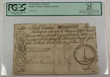 1775 Ten Pounds South Carolina Colonial Currency Note Sc-99 Pcgs Vf-25 Apparent