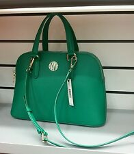 NWT DKNY $295 BRYANT PARK LEATHER GREEN SATCHEL DOME DOUBLE ZIP