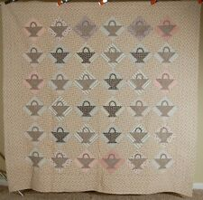 Large GORGEOUS 1920's Baskets Antique Quilt ~BEAUTIFUL VINTAGE FABRICS!