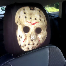 CAR SEAT HEAD REST COVERS 2 PACK HORROR HOCKEY MASK DESIGN MADE IN YORKSHIRE