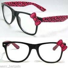 Pink Wayfarer Clear Lens Polka Dot Sunglasses Bow Bowknot Hello Kitty Nerd Retro