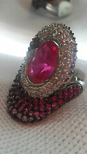 PINK TOPAZ WITH WHITE END PINK ZIRCON - STERLING SILVER THREE TONE RING - SIZE 8