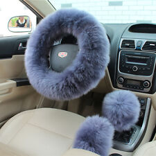 Grey Australian Wool Fuzzy Auto Car Steering Wheel Cover Universal For Winter