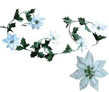 Lot of 24 White Poinsettia 5' Garlands Christmas Decoration Artificial Flower