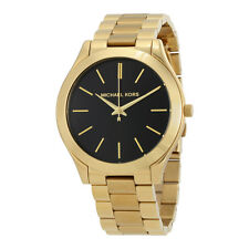Michael Kors Slim Runway Black Dial Gold-tone Ladies Watch MK3478
