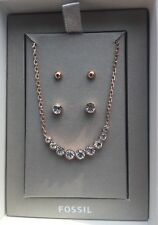 Fossil Brand Stainless Rose Gold & Crystal Necklace & Earring Set JGFSET1009 NWT