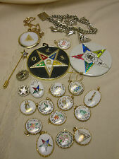Eastern Star Pins Jewelry Vintage 1970's Lot Charm Bracelet 21 Pieces