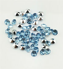DIY 100pcs 6mm Light blue Resin Crystal beads Point back Rhinestones Strass NEW