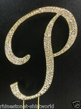"GOLD Plated Rhinestone  Monogram Letter ""P""  Wedding Cake Topper  5"" inch high"