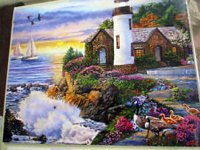 """500 Piece Art Puzzle """"Perfect Dawn"""" Lighthouse,Ocean New 16""""x 20"""""""