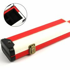 Luxury RED WHITE PATCH 2pc Pool Snooker Cue Case - For Centre Joint Cues