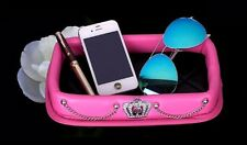 A Fashion Diamond Crown Car Skid Storage Box Car Accessories Phone Mat