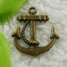 Free Ship 100 pcs bronze plated anchor charms 23x20mm #1764