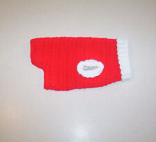New Hand Crochet Red & White Dog Sweater for Small Pet