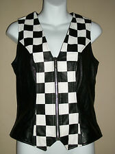 CACHE Size:4 Genuine Black Leather Vest Black & White Checkerboard Zip Front