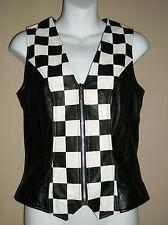 CACHE Size:4 Genuine Black Leather Vest Black & White Checkerboard Zip Front