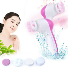 Beauty Electrical Face Skin Massager Deep Cleanser Spin Brush 5 in 1 Set New