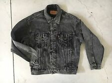 Men's Black Acid Wash Denim Levi Trucker Jacket M 70507-0253 Jean Acne VTG Stone