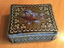 Irish Wade Porcelain Trinket Box Pheasant Shamrocks Made In Ireland