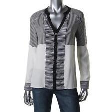 $265! NWT Diane von Furstenberg Shelby Black White 100% Silk Shirt Blouse Top 10