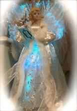 """16"""" Shabby Christmas White Fibre Optic Angel Tree /Table Topper Chic Decoration"""